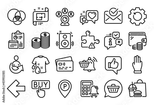 Fotografia Vector set of Currency, Three fingers and Fast food line icons set