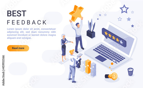 Stampa su Tela Best feedback landing page vector template with isometric illustration