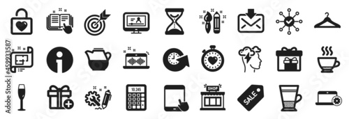 Fotografie, Obraz Set of simple icons, such as Engineering, Info, Add gift icons