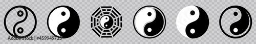 Fotografie, Obraz Yin Yang icon set, Yin and Yang symbol isolated on transparent background