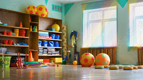 Fotografia Empty children class room with sport equipment fot fitness activity