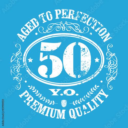 Billede på lærred 50 years jubilee t-shirt design