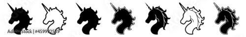 Fotografie, Obraz Unicorn Icon Myth Unicorn Head Set   Unicorns Icon Horse Vector Illustration Log