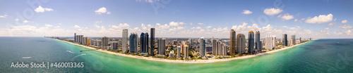 Fotografie, Obraz Amazing wide angle aerial panorama Sunny Isles Beach FL