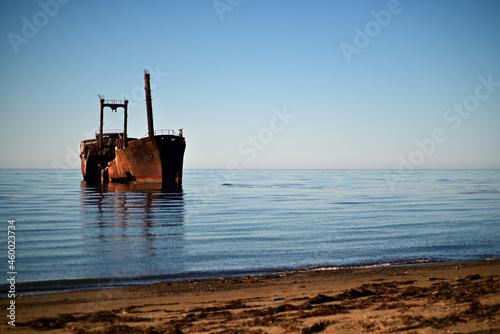 Fototapeta old wrecked ship stranded