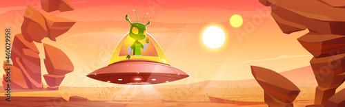 Fotografia Cute martian in ufo on Mars red alien planet landscape