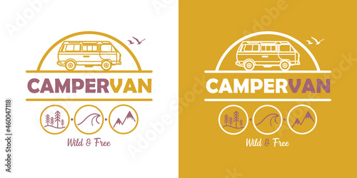 Fotografie, Tablou Campervan - vector illustration - Van - Vanlife - wild and free - colors