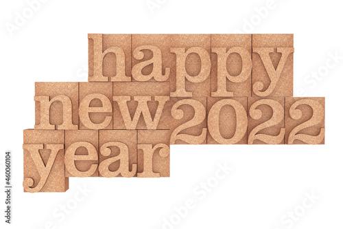 Vintage wood type Printing Blocks with Happy New 2022 Year Slogan. 3d Rendering