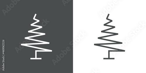 Fotografering Logotipo lineal árbol abstracto con ramas en forma de triángulo en zigzag en fon