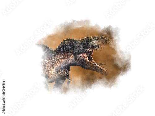 Платно Gorgosaurus Dinosaur on smoke background