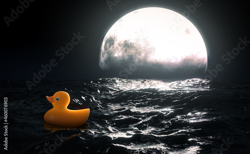 Fotografering Rubber Duck and Moon On Water