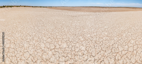 Fotografiet Dry river bed. Drought climate disaster