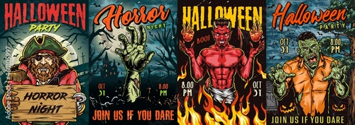 Fotografering Halloween night colorful posters