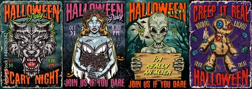 Photo Halloween night vintage colorful posters