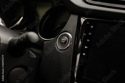 Fototapeta Modern car interior with dashboard and multimedia