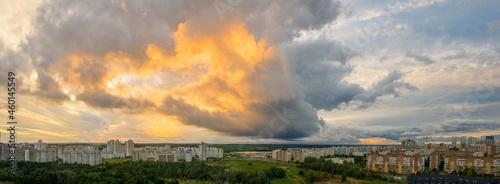 Fotografie, Obraz An aerial panorama of the sunset over Minsk suburbs, Belarus