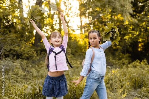 Fototapeta schoolgirls among the autumn landscape.