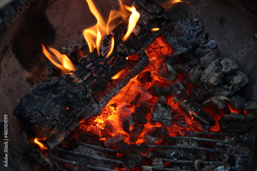 Fototapeta Barbecue flaming Charcoal Grill close up photo