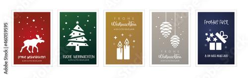 Foto Weihnachtsgrüße mit fünf verschiedenen weihnachtlichen Motiven - deutscher Text