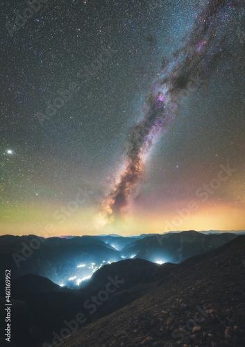 Fotografie, Tablou Glowing Milky Way Galaxy within Agrafa mountains