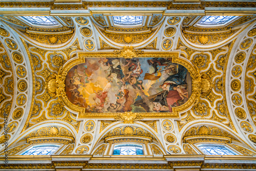 The ceiling of the Church of Saint Louis of the French in Rome, Italy.