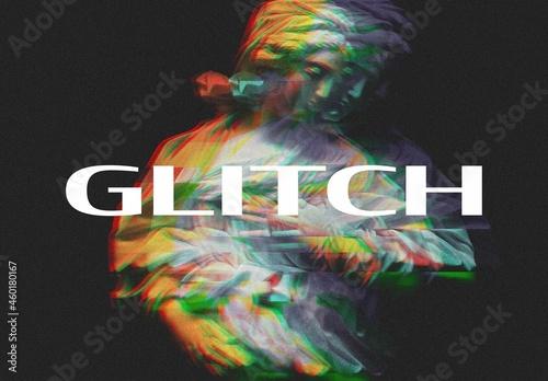 RGB Split Digital Glitch Photo Effect Mockup