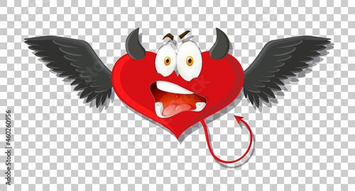 Fotografiet Heart shape devil with facial expression