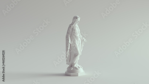 Fotografia White Virgin Mary Statue Marble Art Religion Sculpture 3d illustration render