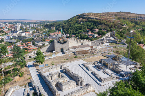 Fotografiet Partially reconstructed walls of Hisarya fortress in the city of Lovech, Bulgari
