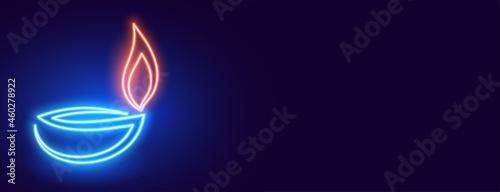 Foto glowing neon diya diwali banner design