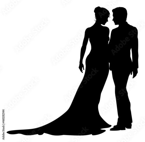 Bride And Groom Couple Wedding Dress Silhouettes Fototapet