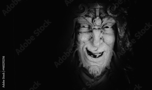 Tableau sur Toile Monster face of aGreek antique god daimon of eager rivalry, envy, jealousy, and zeal Zelus (Zelos)