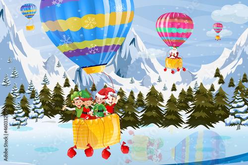 Wallpaper Mural Hot Air balloon Christmas elves and Santa Winter time