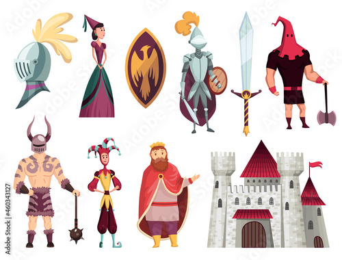 Medieval tales characters flat set with archer blacksmith king queen horn bishop Fototapet