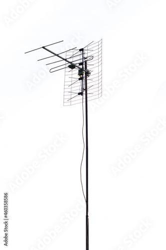 Foto antena telewizyjna na białym tle
