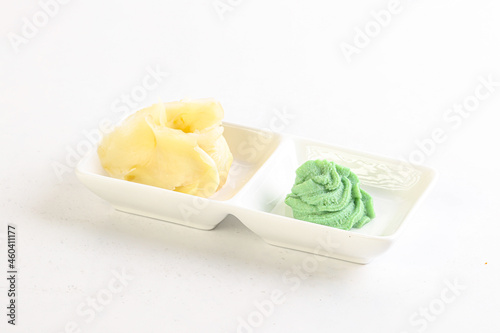 Fotografie, Obraz Ginger and wasabi in the bowl