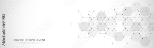 Fotografiet Abstract design element with geometric background and hexagons shape pattern for
