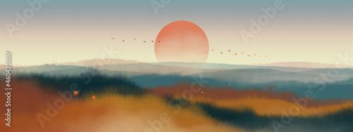 Warm orange watercolor landscape paintings in autumn. Color ink landscape painting.