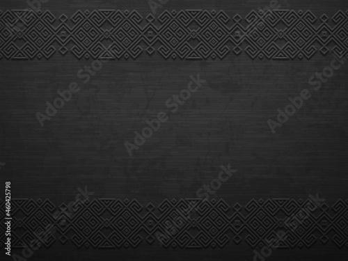 Obraz na plátně Vector grunge rough dark metal background with scandinavian pattern
