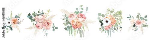 Billede på lærred Peachy pink roses, ranunculus, white anemone, dried protea, dahlia vector design bouquets