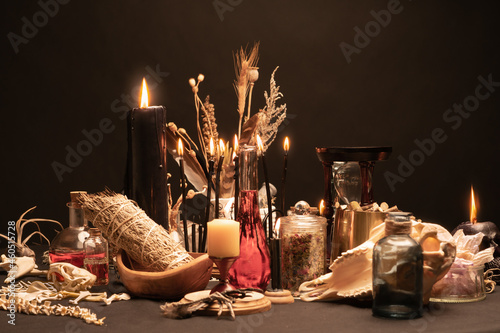 Fototapeta Occult and esoteric witch doctor still life