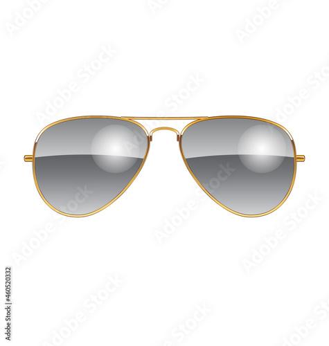 Canvastavla cool aviator sunglasses chrome lenses gold frames