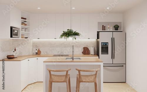 Fototapeta cocina blanca con isla central, 3d render
