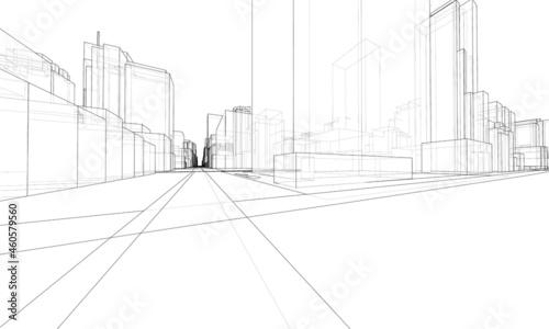 Fotografie, Tablou Vector 3d urban landscape. Buildings and roads