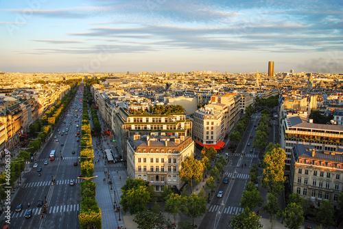 sunset view of Champs Elysees from arc de triomphe, Paris. Fotobehang
