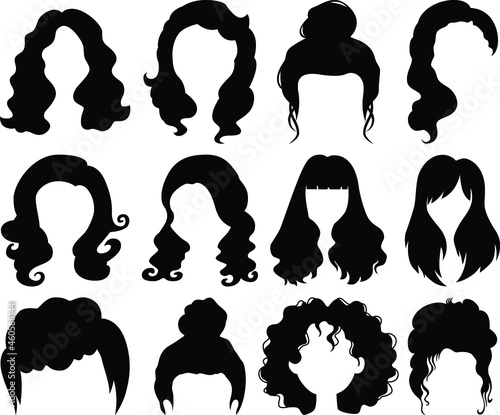 Foto Woman hairstyle wigs vector halloween haircut and female fake hair style or bob