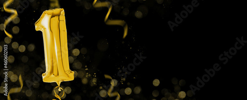 Fotografering Golden balloons with copy space - Number 1