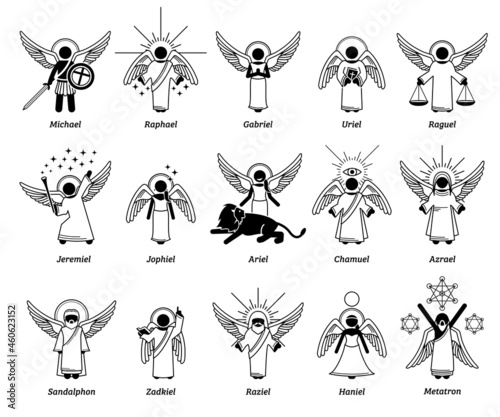 Vászonkép God archangels, angels, cherub cherubim, and saint