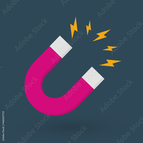 Photo Magnet with lightning icon isolated on blue background