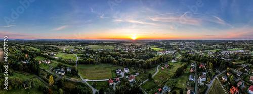 Śląsk w Polsce zachód słońca z lotu ptaka